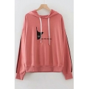 Cat Letter Embroidered Contrast Striped Patched Long Sleeve Leisure Hoodie