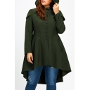 Offset Button Front Plain Long Sleeve Lace Up Back Asymmetric Hem Hooded Coat