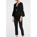 Collarless Shining Straps 3/4 Length Sleeve Cropped Jacket