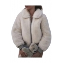 Faux Fur Lapel Collar Long Sleeve Zip Closure Cropped Jacket