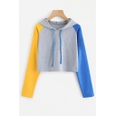 Fall Collection Color Block Long Sleeve Cropped Hoodie