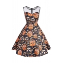 Mesh Patchwork Pumpkin Printed Round Neck Sleeveless Midi Flare Dress