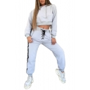 Lace Up Drawstring Waist Contrast Striped Side Casual Sports Pants