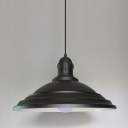 Industrial Large Pendant Light with 16.54''W Metal Shade, Black