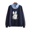Contrast Lapel Collar Letter Rabbit Printed Long Sleeve Layered Sweatshirt