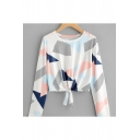 Geometric All Over Print Round Neck Long Sleeve Knotted Hem Cropped Tee