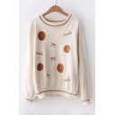 Bow Cookie Letter Embroidered Contrast Striped Trim Round Neck Long Sleeve Sweater