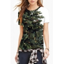 Color Block Christmas Tree Printed Round Neck Short Sleeve T-Shirt