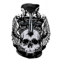 3D Cross Skull Printed Long Sleeve Casual Hoodie