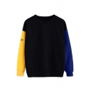 Letter Print Color Block Round Neck Long Sleeve Pullover Sweatshirt