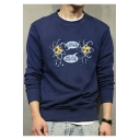I LOST AN ELECTRON Letter Graphic Print Round Neck Long Sleeve Sweatshirt