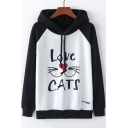 LOVE CATS Letter Mouth Print Color Block Raglan Sleeve Hoodie