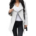 Lapel Collar Offset Zip Closure Long Sleeve Tunic Asymmetric Coat