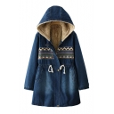 Denim Contrast Tribal Pattern Patchwork Long Sleeve Drawstring Waist Hooded Plush Lined Coat