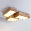Contemporary Led Rectangular Ceiling Mount Lighting 24/25W,  Wood Surface Mount Led Square Lights for Clothes Stores Bathroom Office Foyer Balcony 3 Designs Available