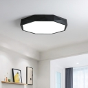 Black Finish Modern Geometrical Lighting LED Octagon Led Ceiling Light 24/36/48W LED Direct Indirect Lighting Suitable for Bedroom Living Room Bathroom Entryway Office