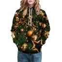 Christmas Tree Bell Printed Long Sleeve Casual Hoodie