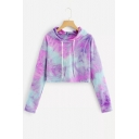 Fashion Colorful Printed Long Sleeve Cropped Hoodie