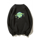 Star Planet Printed Round Neck Long Sleeve Sweatshirt