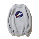 NASA Letter Plane Printed Round Neck Long Sleeve Sweatshirt