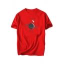EXPLORE Letter Astronaut Planet Printed Round Neck Short Sleeve T-Shirt