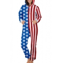 American Flag Contrast Star Striped Printed Long Sleeve Loose Hooded Jumpsuit