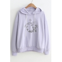 Lovely Heart Cat Printed Long Sleeve Casual Hoodie