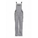 Vintage Plaid Printed Straps Chain Embellished Overall Jumpsuit