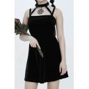 Punk Plain Spaghetti Straps Sleeveless Plain Pentagram Pendant Mini A-Line Velvet Dress