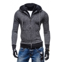 Layered Collar Plain Zip Up Long Sleeve Slim Hoodie