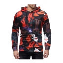 Character Letter All Over Print Long Sleeve Hoodie for Men
