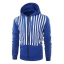 Contrast Striped Letter Printed Long Sleeve Zip Up Hoodie