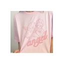 ANGEL Letter Babies Printed Round Neck Short Sleeve Tee