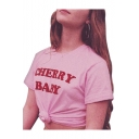 CHERRY BABY Letter Printed Round Neck Short Sleeve T-Shirt