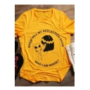 WHEN WILL MY REFLECTION SHOW Letter Character Printed Round Neck Short Sleeve Tee