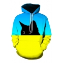 3D Color Block Cat Printed Long Sleeve Casual Loose Hoodie