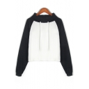 Drawstring Mock Neck Color Block Raglan Sleeves Cropped Sweatshirt