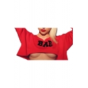 BAE Letter Print Off The Shoulder Long Sleeve Asymmetric Hem Cropped Sweatshirt