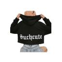 Letter Embroidered Back Long Sleeve Cropped Hoodie