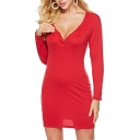Sexy Button Front V Neck Long Sleeve Slim Plain Mini Pencil Dress