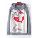 Color Block Raglan Sleeve Crane Sun Print Relaxed Hoodie