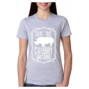 SAVE THE CHUBBY Letter Graphic Print Short Sleeve Round Neck T-Shirt