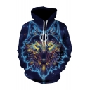 3D Fancy Wolf Print Long Sleeve Hoodie for Men