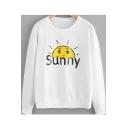 SUNNY Letter Sun Print Round Neck Long Sleeve Sweatshirt
