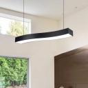 Modern Designer Style Led Chandelier Light Wave Pendant Bar Light Acrylic 12/24/32W Energy-Saving Curved Shaped Hanging Led Lamp