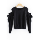 Cold Shoulder Plain Round Neck Bow Tie Long Sleeve Sweater