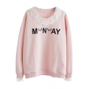 Letter Eyelash Printed Lace Insert Round Neck Long Sleeve Sweatshirt