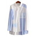 Color Block Letter Printed Lapel Collar Long Sleeve Button Front Dip Hem Shirt