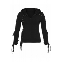 Zip Front Long Sleeve Lace Up Detail Plain Leisure Cropped Hoodie