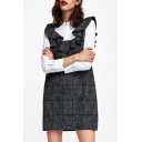 Fake Two Pieces Lapel Collar Shirt-Style Long Sleeve Plaid Patchwork Ruffle Detail Mini A-Line Dress